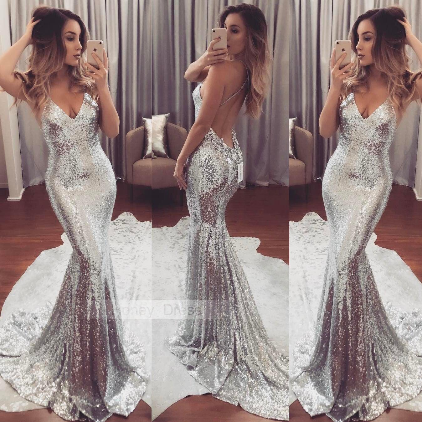 Honey Dress Sexy Silver Sparkly Sequins V Neckline Prom