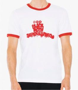 Image of Black Moth Super Rainbow Logo Red Ringer/White TShirt
