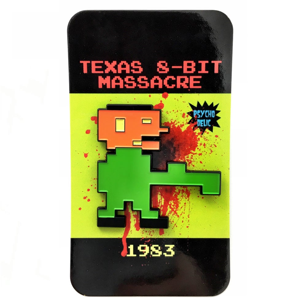 Image of 8-bit Leatherface pin (green)