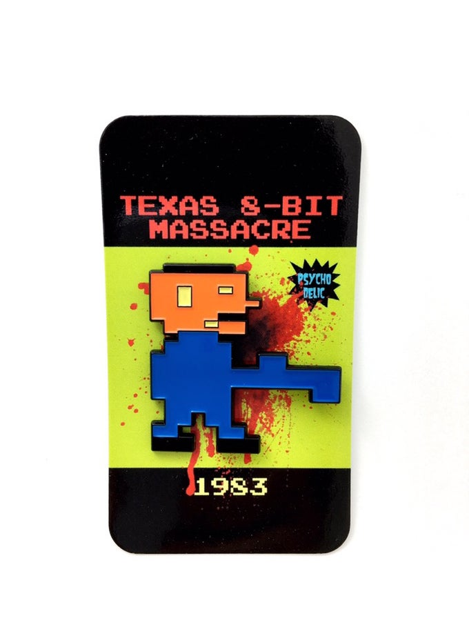 Image of 8-bit Leatherface pin (blue)