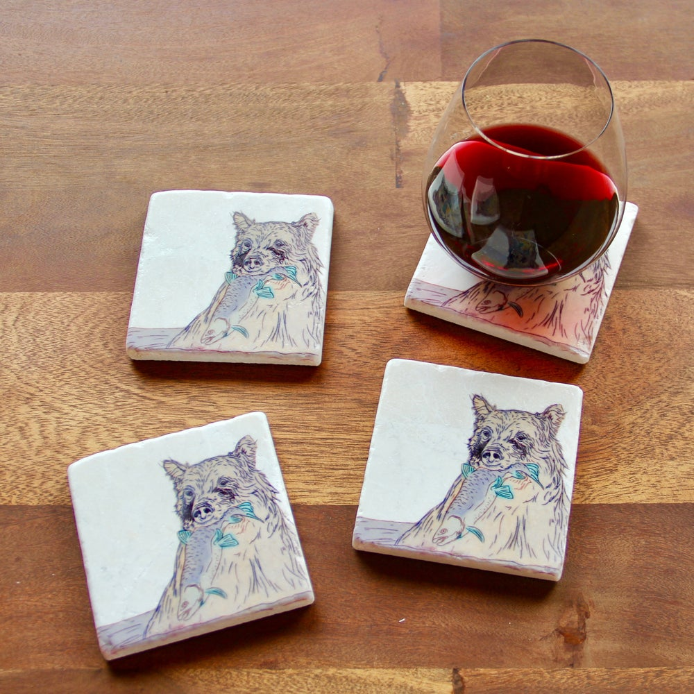 Image of Bear Eats Fish Coasters (set of 4)
