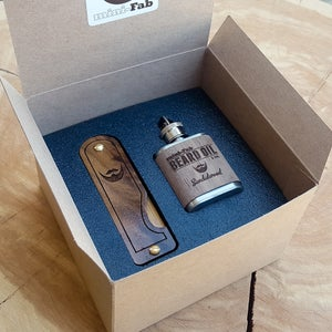 Image of Beard Comb & Beard Oil Kit - Personalized Folding Wood Beard Gift Set - Gifts for Men - Walnut