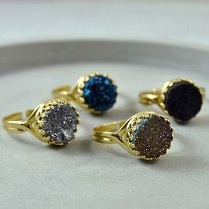 Image of Gold Druzy Quartz Crystal Gemstone Ring