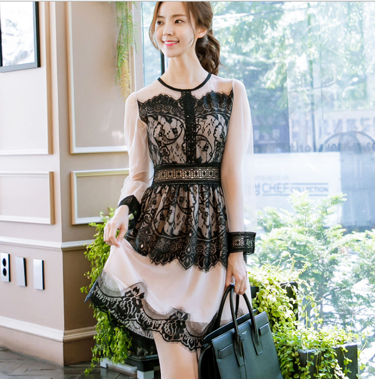Image of Long sleeve lace round neckline dress