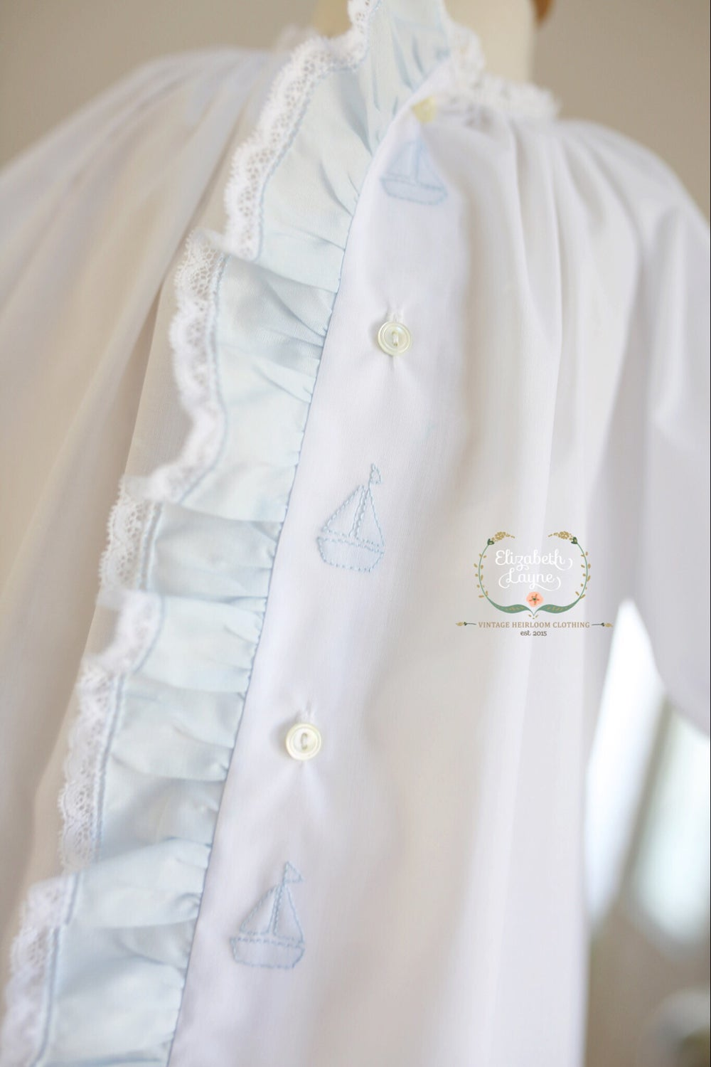 Image of Boy's Batiste Sailboat Day Gown