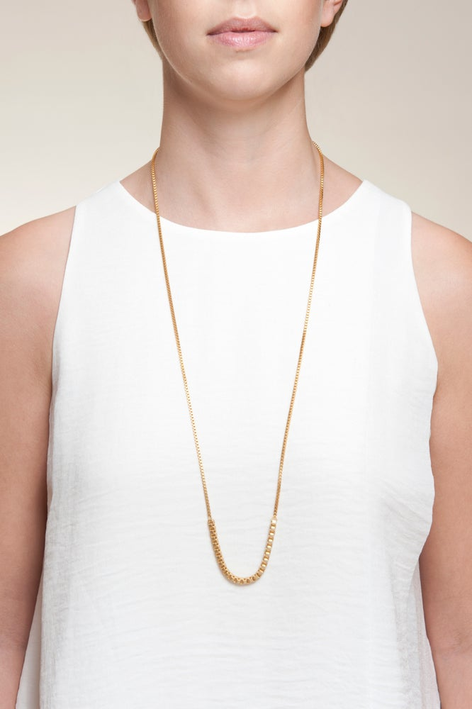 Image of Gold plated box chain long necklace