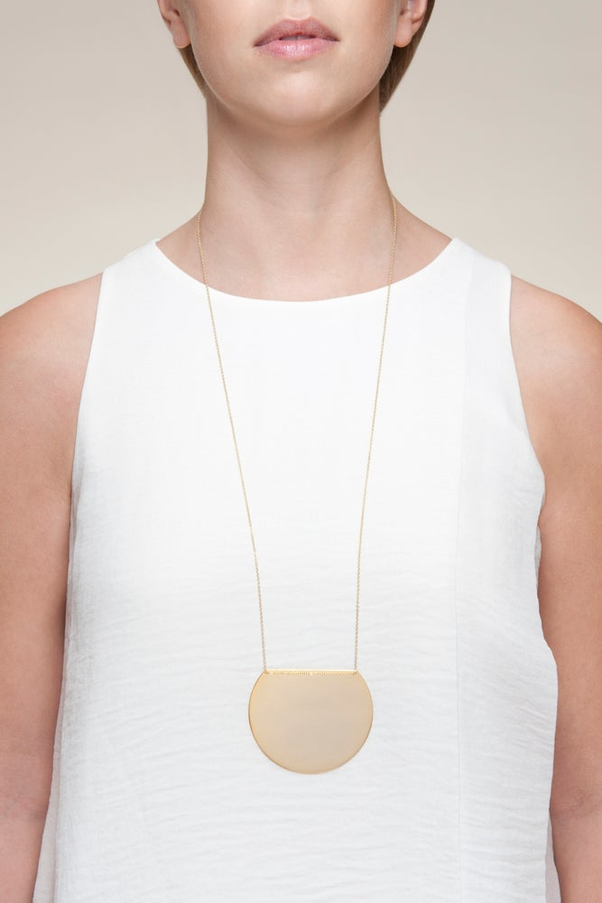 Image of Gold plated moon long necklace