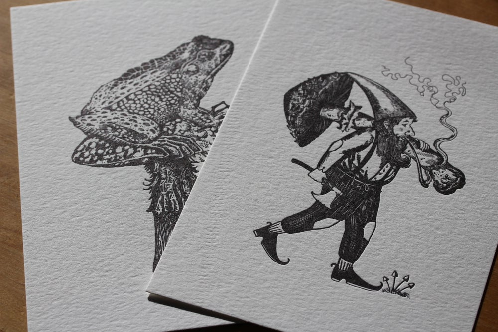 Image of Gnome and toad letter press prints.