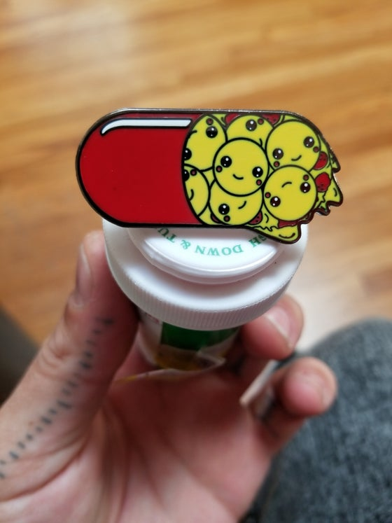 Image of PIZZA PILL PIN 1.75 INCHES