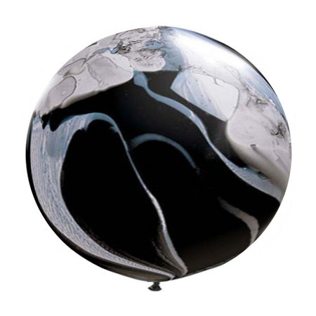 Image of Giant Round Balloon - Black and White Marble