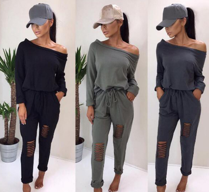 Image of Long sleeve bare shoulder hollowed-out jumpsuit