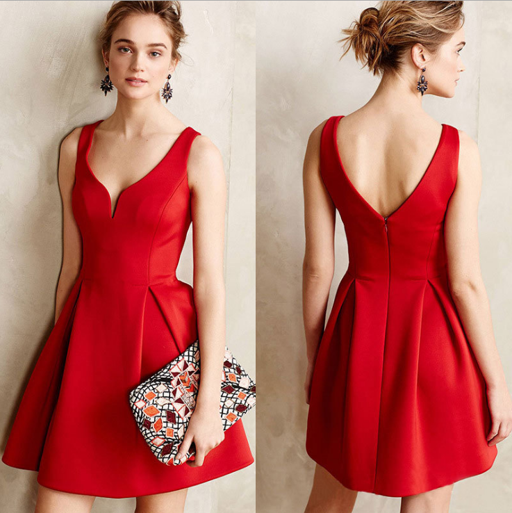 Image of Fashion sexy v-neck with a waist-back dress