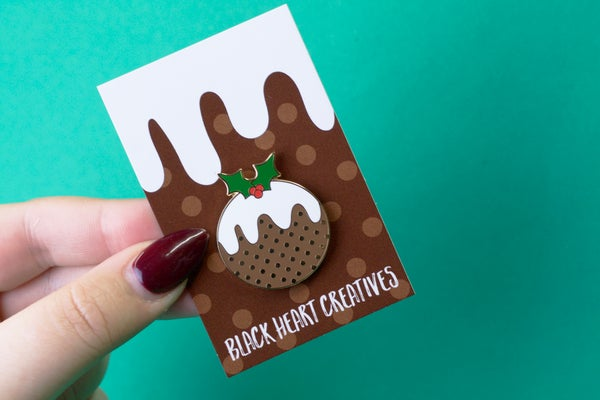Christmas Pudding Enamel Pin - Black Heart Creatives
