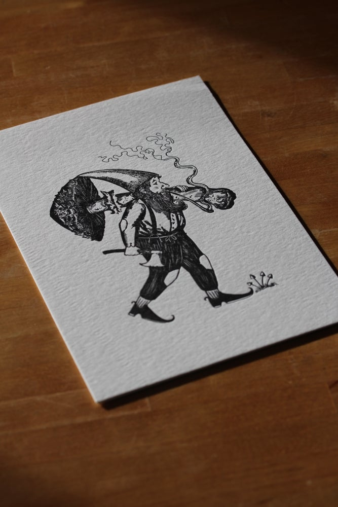 Image of Foraging Gnome letterpress Print
