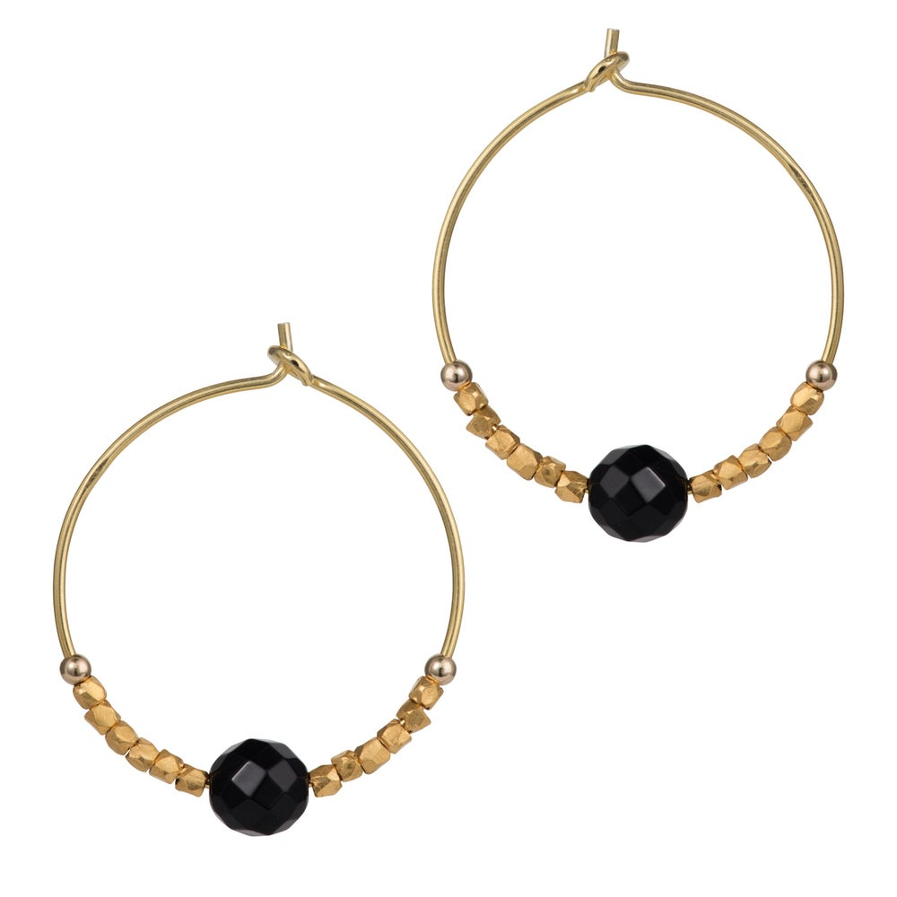 Image of Black Onyx  Stone Fair Trade Hoop Earrings 25mm