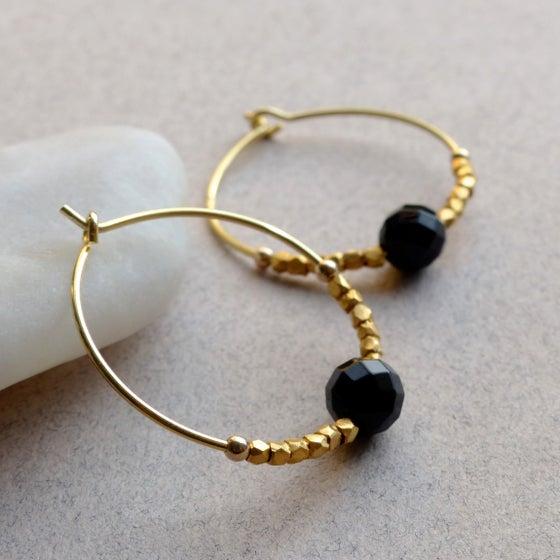 Image of Black Onyx  Stone Fair Trade Hoop Earrings 25mm