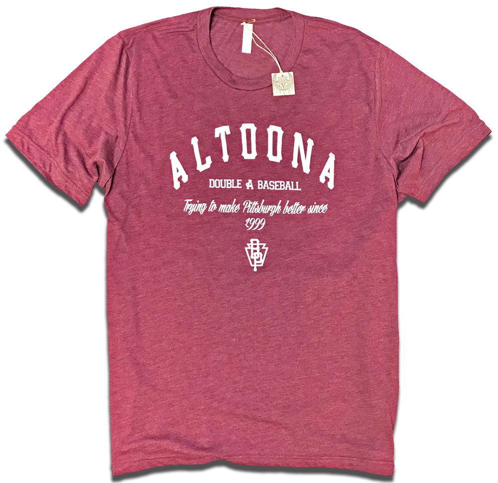 "Image of Altoona Curve Double A Baseball ""Trying To Make Pittsburgh Better Since 1999"" redesinged tee"