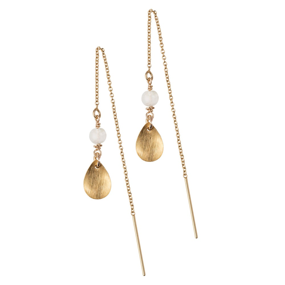 Image of Drop And Gemstone Thread Earrings