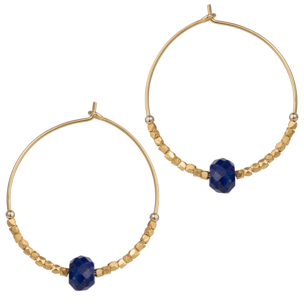 Image of Lapis Lazuli And Fair Trade Hoops 30mm