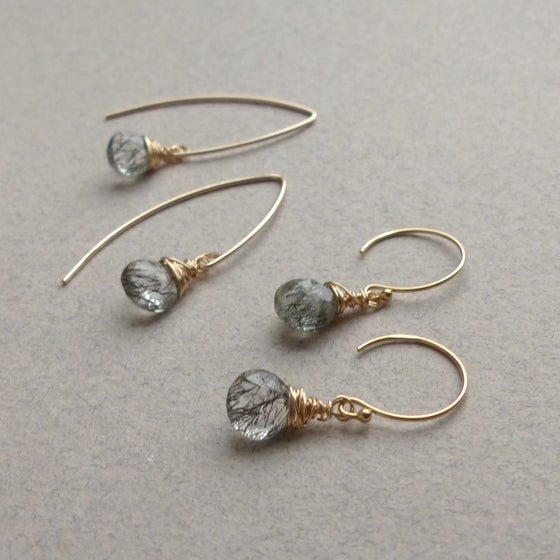 Image of Tourmalinated Quartz Drop Earrings