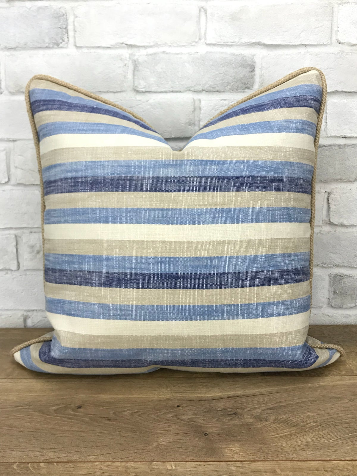 Image of Stripe linen with jute trim pillow cover