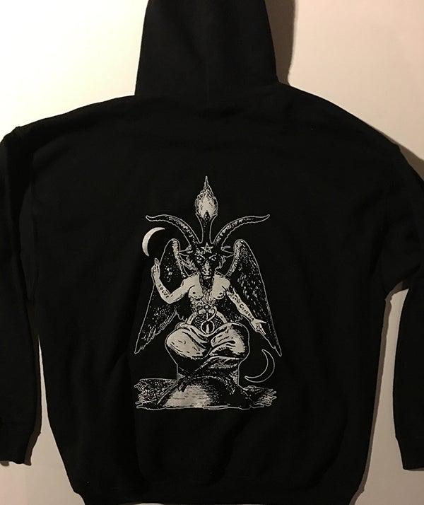 Image of Pentagram - Pocket Print Hoodie with Baphomet Back