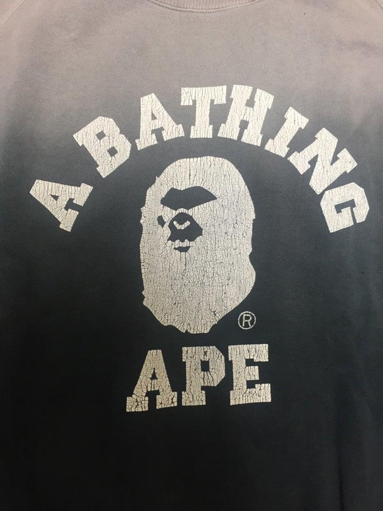 "Image of Bape ""Mad Ape Head"" College Gradient Sweatshirt Grey"