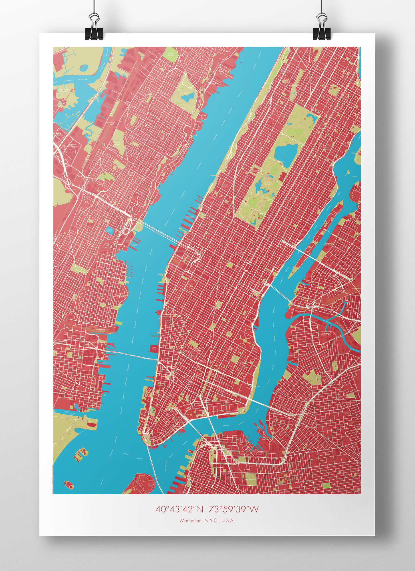 Manhattan map poster red blue the map crafter image of manhattan map poster red blue gumiabroncs Gallery