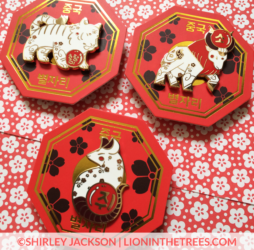 Image of Chinese Zodiac Series 2 Red and White Enamel Pins