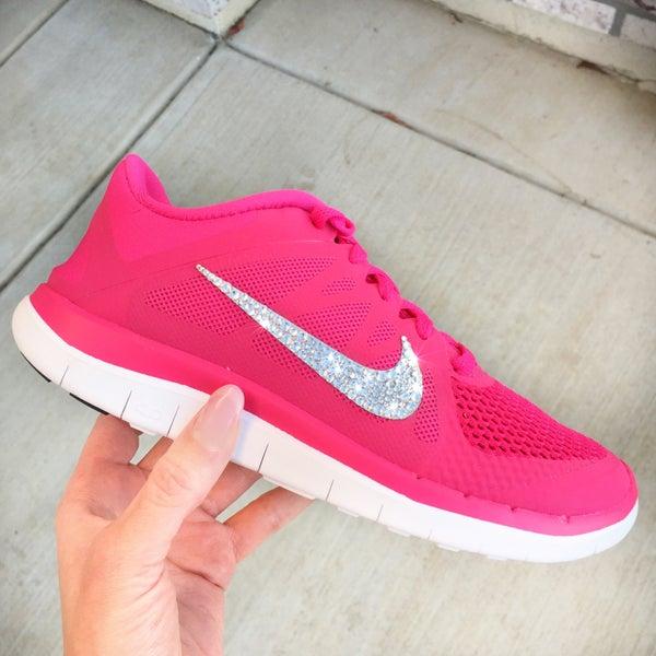 Image of Women's Nike Free 4.0 V4 w/ Swarovski Rhinestones - Vivid Pink