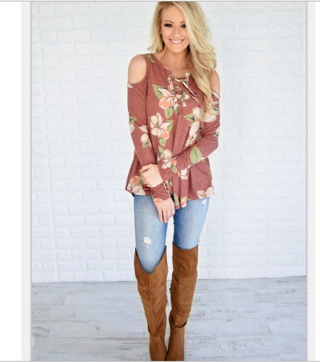 Image of Fashion flower print shoulder belt long sleeve T-shirt blouse