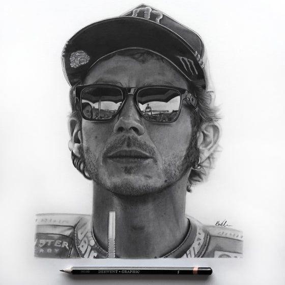 Image of Valentino Rossi - Original Pencil Drawing