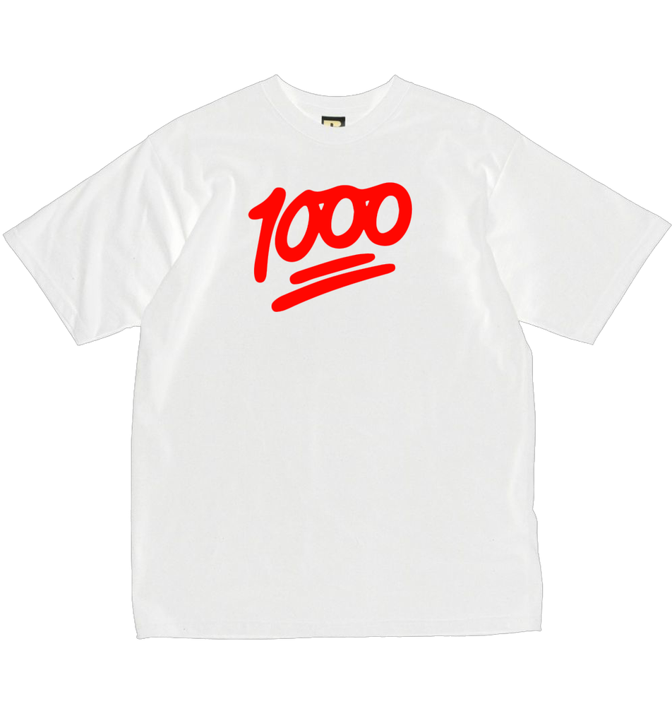 Image of 1000 Official T-shirt. White/Red