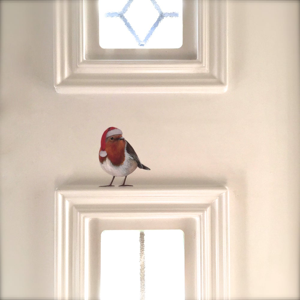 Image of Santa Bobbi Robin  ~ Removable Wall Decal