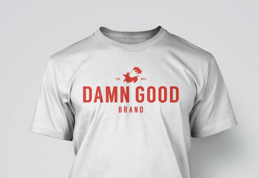 Image of Damn Good Brand, Unisex Tee, Red on White
