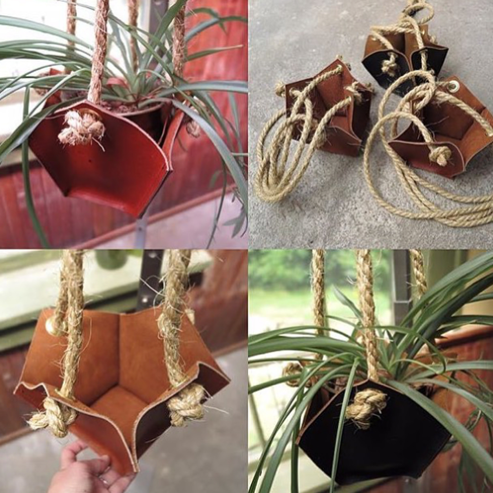 Image of leather plant hanger
