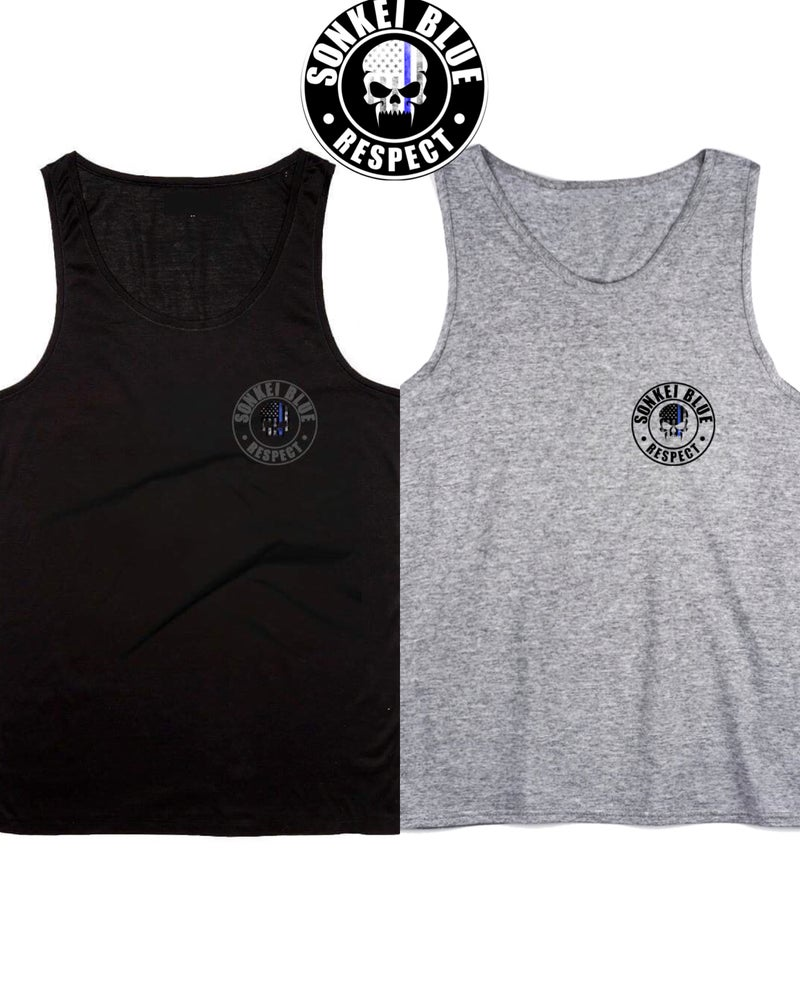 Image of Black and Gray Sonkei Blue Tank Top