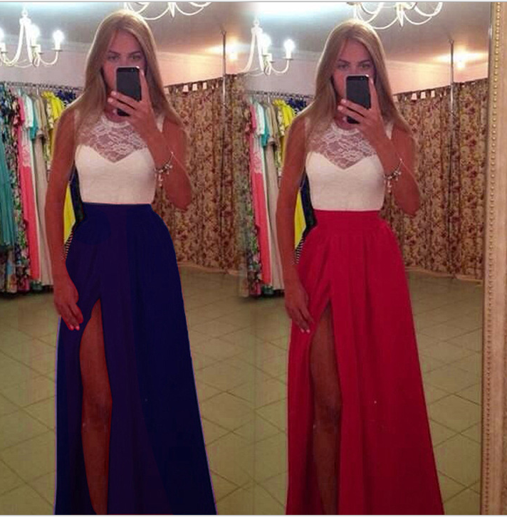 Image of High - waist lace and color split dress