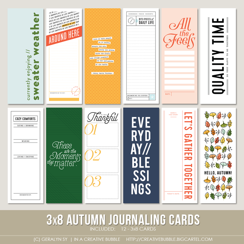 Image of 3x8 Autumn Journaling Cards (Digital)