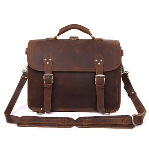 Image of Vintage Handmade Crazy Horse Leather Briefcase / Satchel / Laptop Bag - Backpack / Messenger (n94)