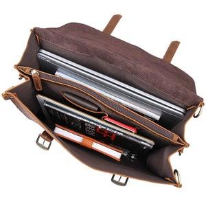 Image of Vintage Handmade Crazy Horse Leather Briefcase / Satchel / Laptop Bag - Backpack / Messenger (n94)