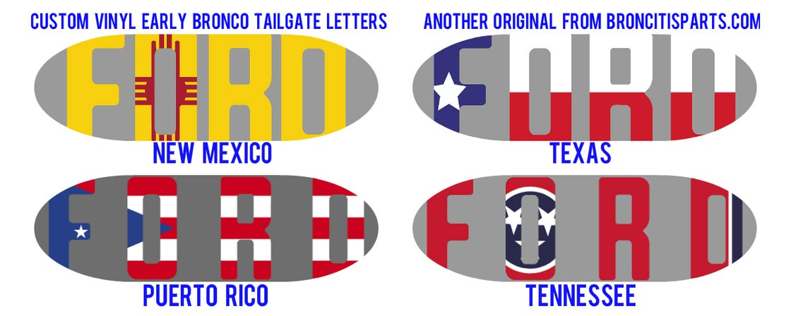 Image of Custom Early Bronco Tailgate Letters