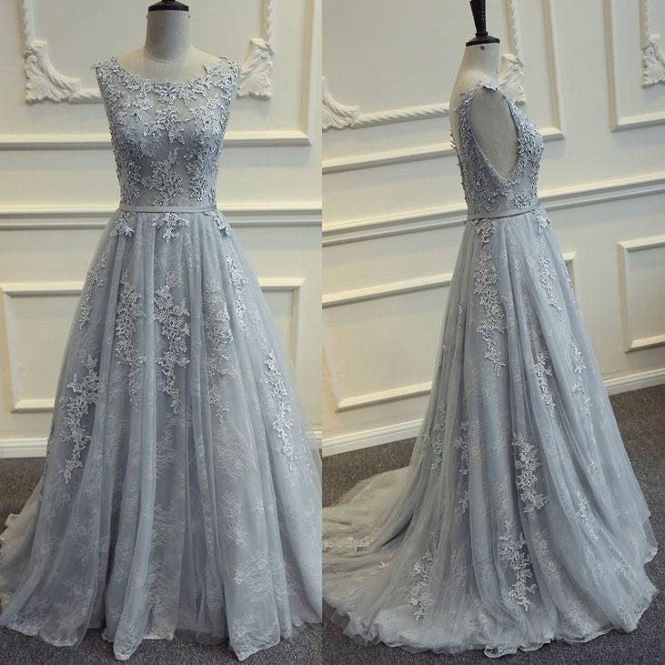 Grey Prom Dresses 2018, Elegant Party Dresses, Lace Prom Dresses ...