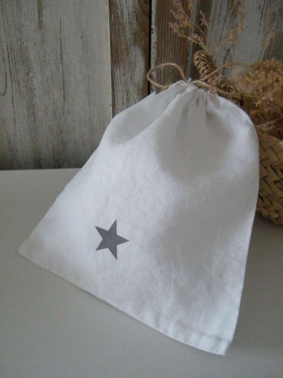 Image of Sac en lin blanc, motif étoile grise