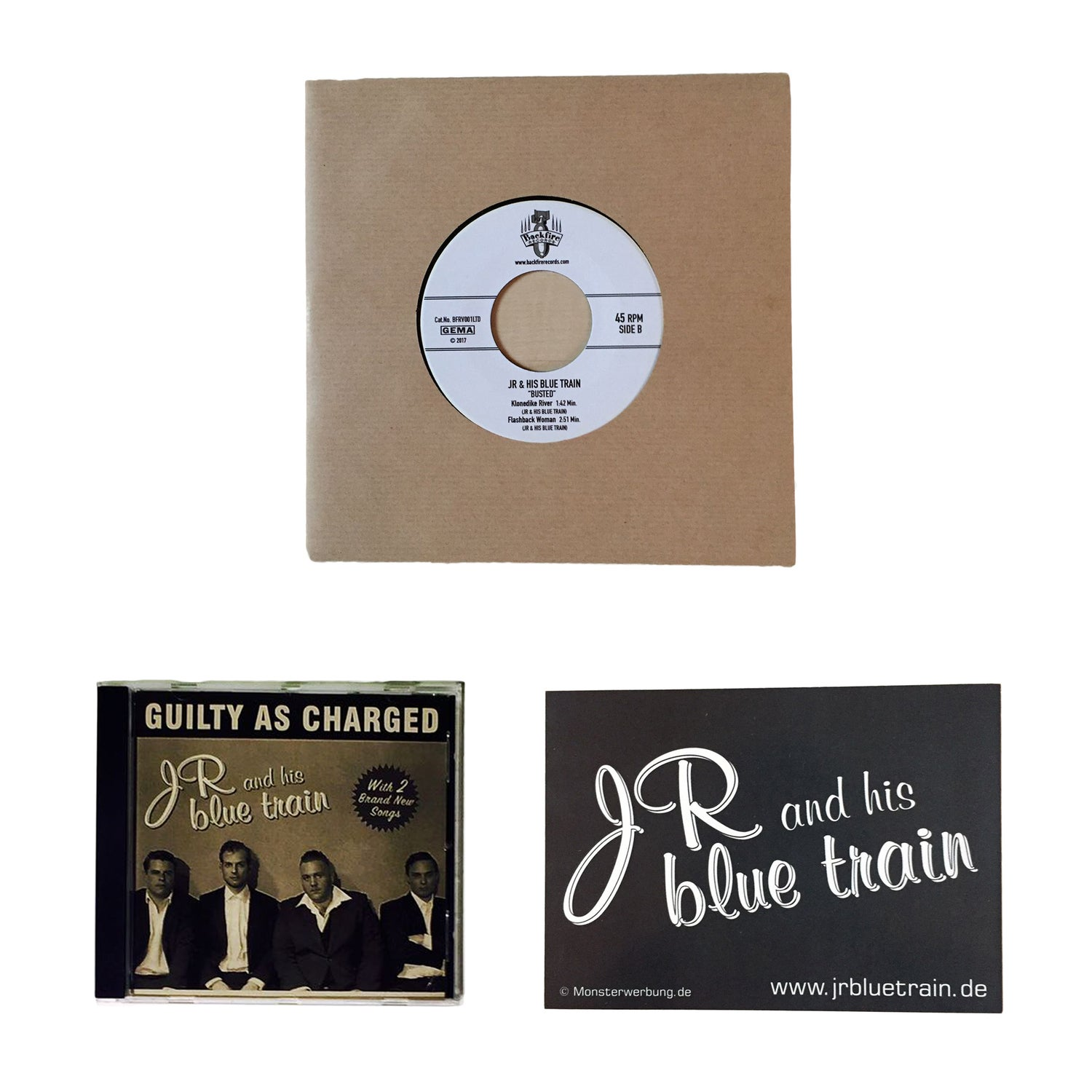 """Image of JR and his blue train """"Band Bundle"""""""