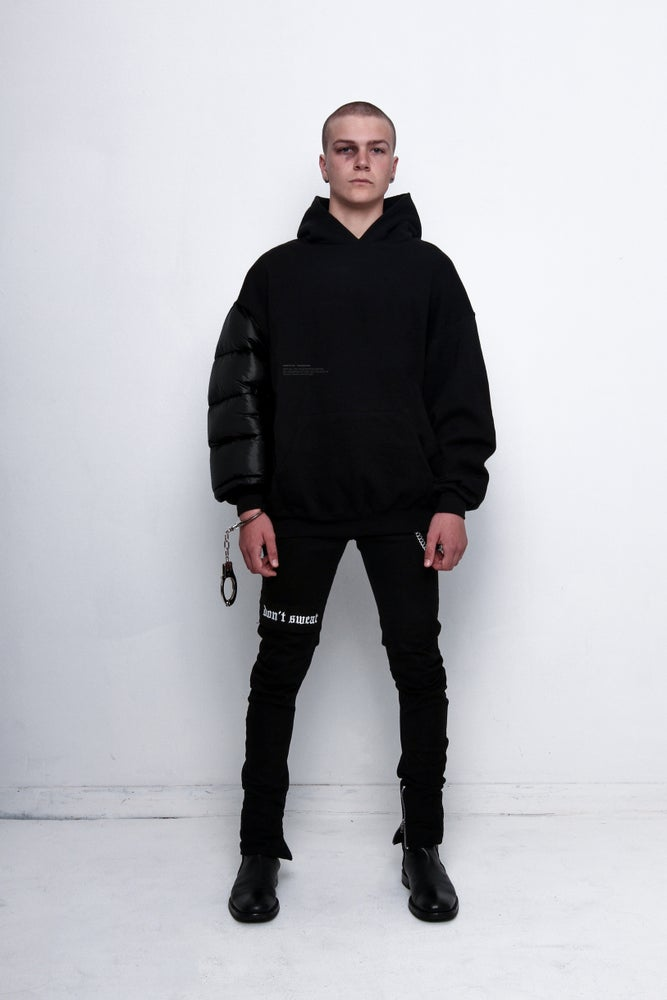 Image of Nylon Sleeve Hooded Sweatshirt