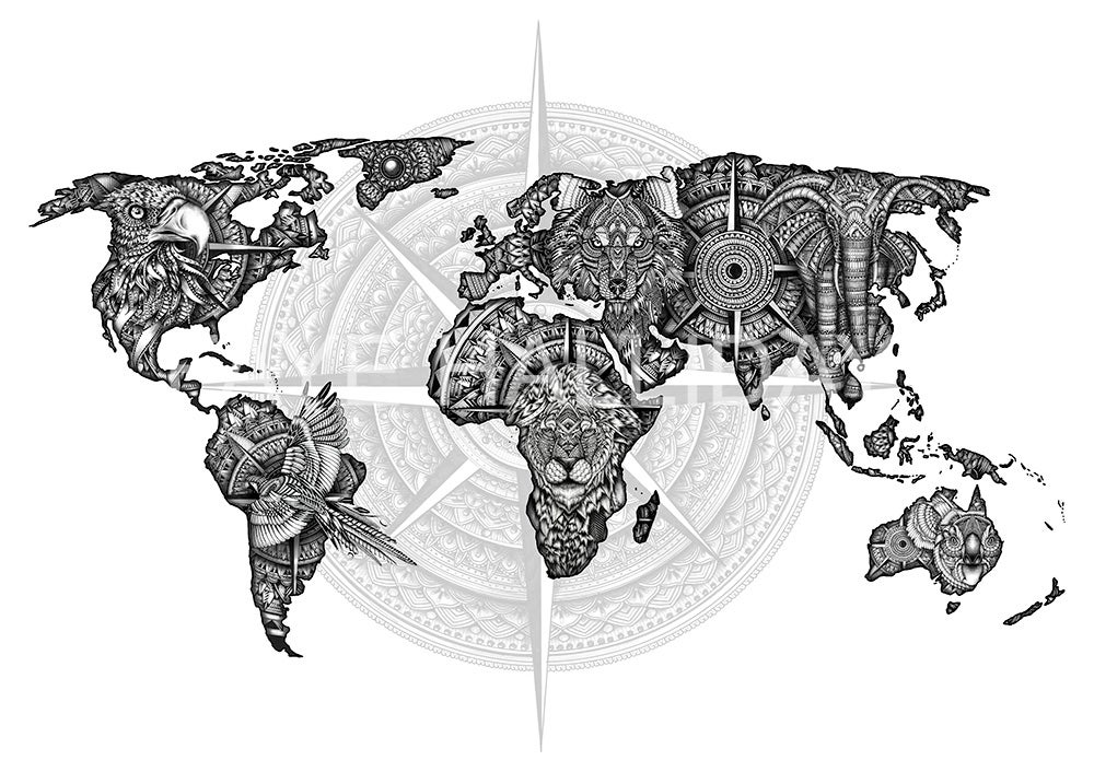 Ltd Edition Super Size World Map Faye Halliday - Big black and white world map