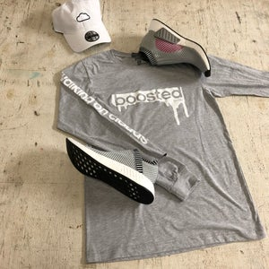 """Image of BOOSTED """" WHITE PRINT """" LONG SLEEVE"""
