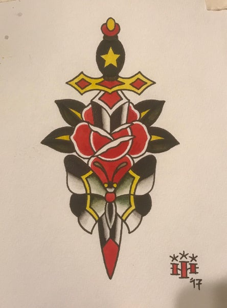 Image of Dagger,Rose & Butterfly