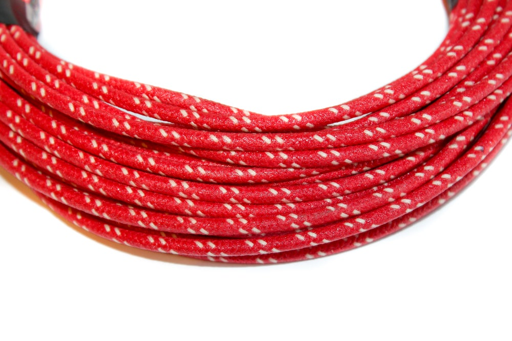 Image of Cotton Braided Wire - Red with white fleck - 16 gauge